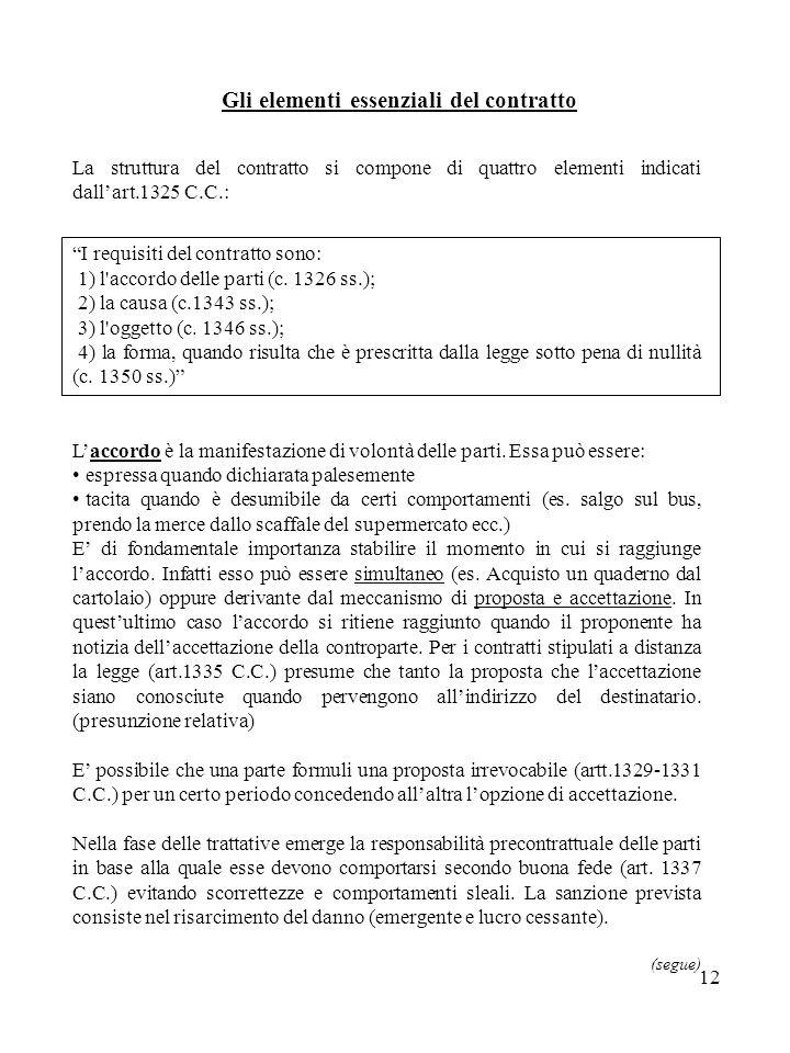 12 Gli elementi essenziali del contratto La struttura del contratto si compone di quattro elementi indicati dallart.1325 C.C.: I requisiti del contratto sono: 1) l accordo delle parti (c.