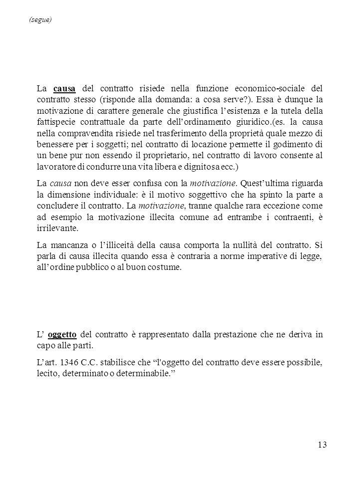 13 La causa del contratto risiede nella funzione economico-sociale del contratto stesso (risponde alla domanda: a cosa serve ).