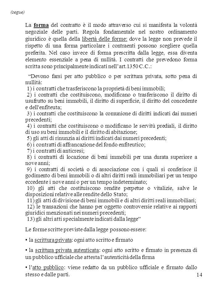 14 (segue) La forma del contratto è il modo attraverso cui si manifesta la volontà negoziale delle parti.