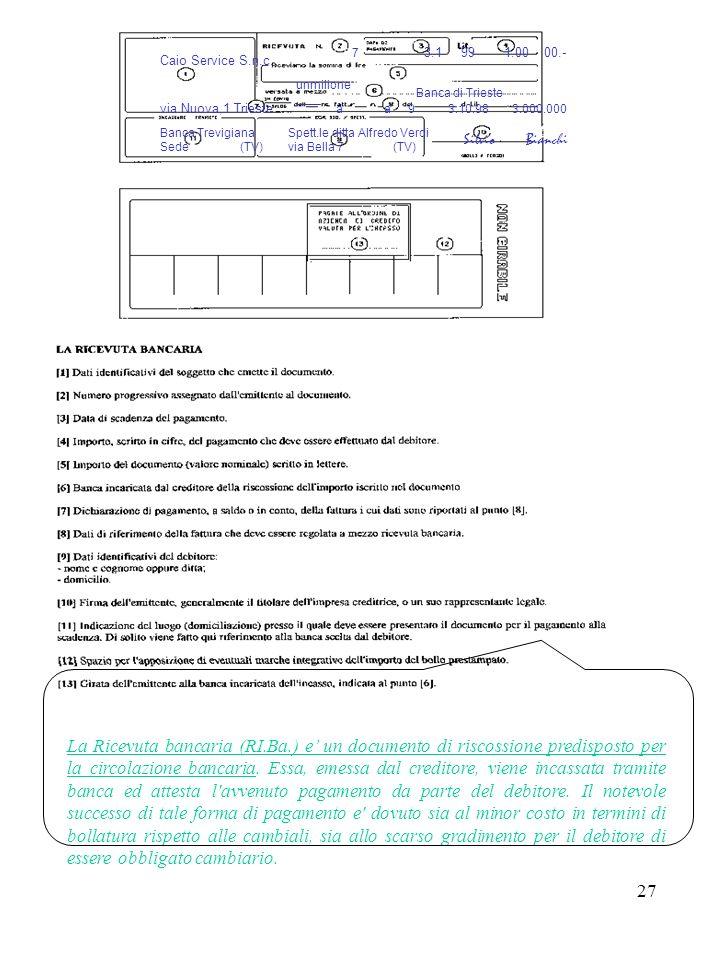 27 La Ricevuta bancaria (RI.Ba.) e un documento di riscossione predisposto per la circolazione bancaria.