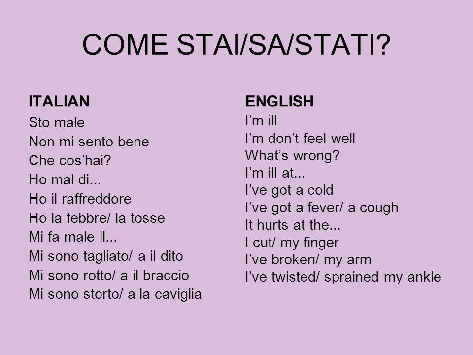 SONO... ITALIANO Alto Basso Magro Snello Grasso ENGLISH Tall Short Thin Slim Fat