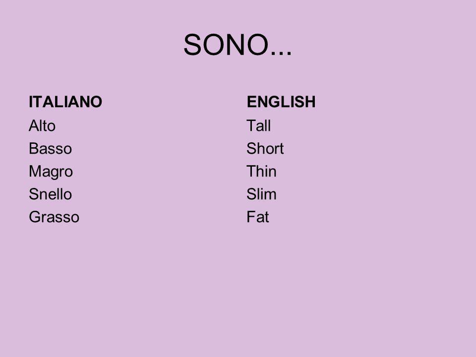 SONO... ITALIANO Alto Basso Magro Snello Grasso ENGLISH Tall Short Thin Slim Fat