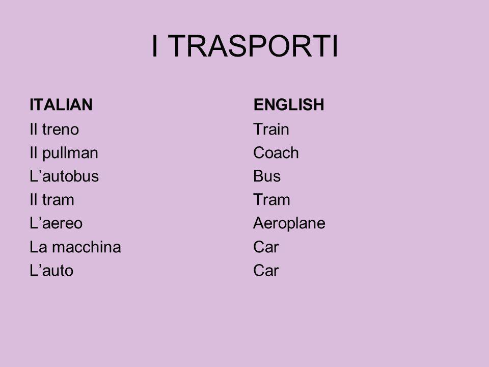 I TRASPORTI ITALIAN Il treno Il pullman Lautobus Il tram Laereo La macchina Lauto ENGLISH Train Coach Bus Tram Aeroplane Car
