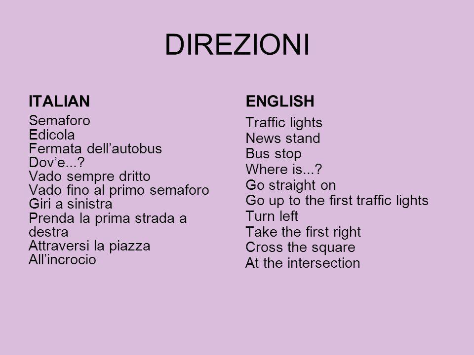 DIREZIONI ITALIAN Semaforo Edicola Fermata dellautobus Dove...? Vado sempre dritto Vado fino al primo semaforo Giri a sinistra Prenda la prima strada