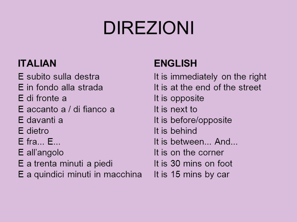 DIREZIONI ITALIAN E subito sulla destra E in fondo alla strada E di fronte a E accanto a / di fianco a E davanti a E dietro E fra... E... E allangolo