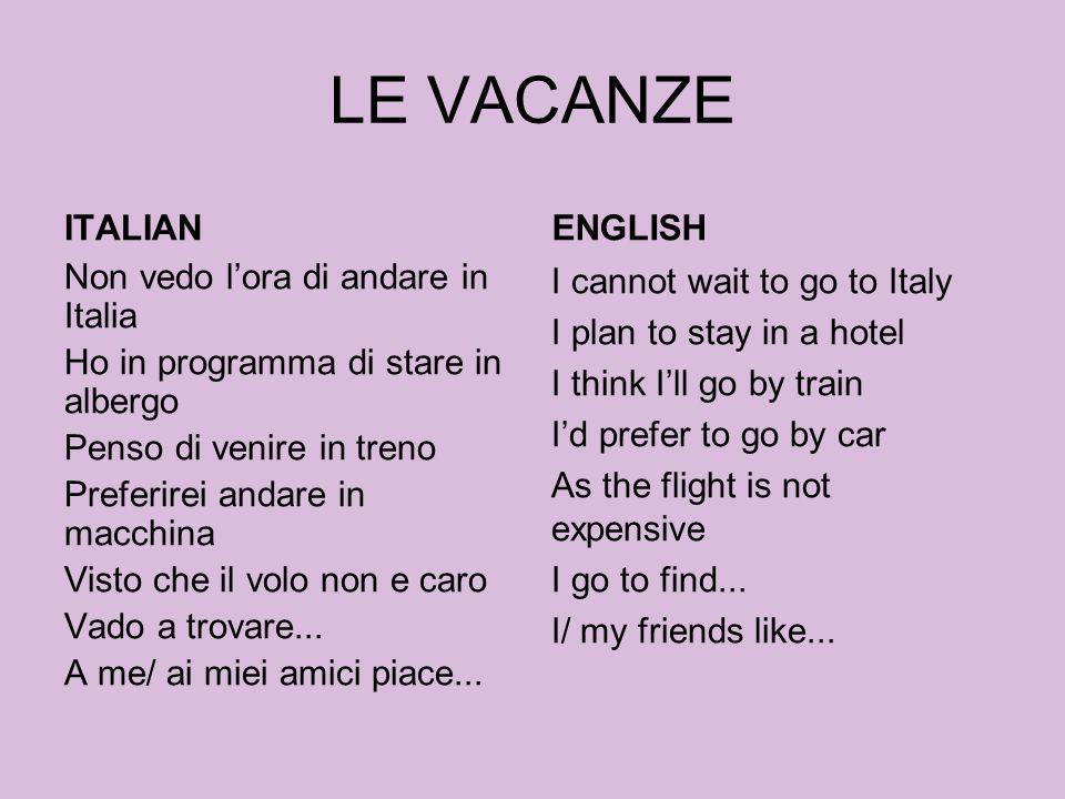 LE VACANZE ITALIAN Non vedo lora di andare in Italia Ho in programma di stare in albergo Penso di venire in treno Preferirei andare in macchina Visto