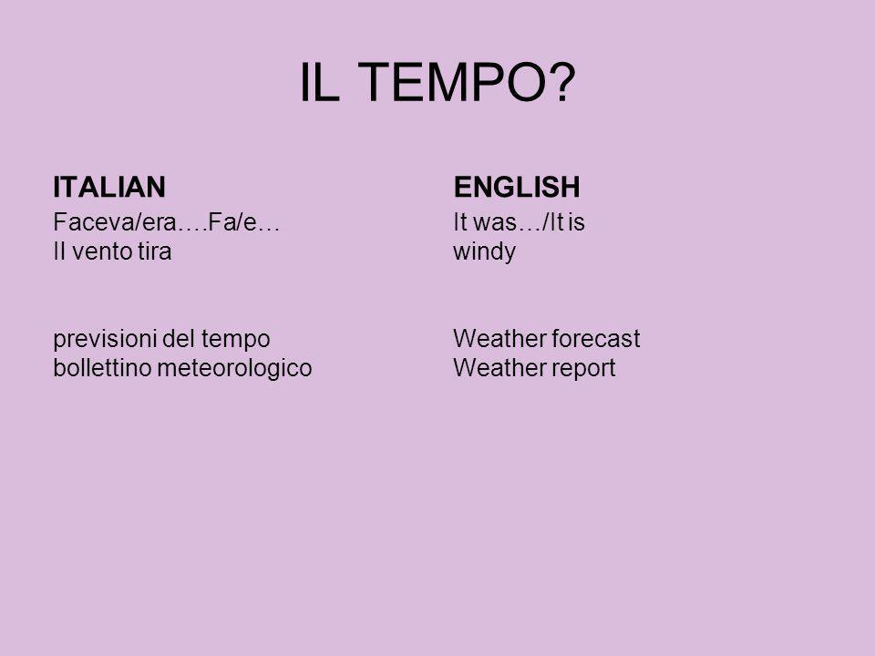 IL TEMPO? ITALIAN Faceva/era….Fa/e… Il vento tira previsioni del tempo bollettino meteorologico ENGLISH It was…/It is windy Weather forecast Weather r