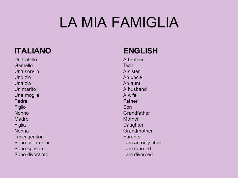 LA MIA FAMIGLIA ITALIANO Un fratello Gemello Una sorella Uno zio Una zia Un marito Una moglie Padre Figlio Nonno Madre Figlia Nonna I miei genitori So