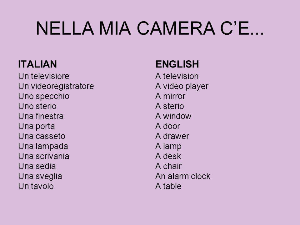 NELLA MIA CAMERA CE... ITALIAN Un televisiore Un videoregistratore Uno specchio Uno sterio Una finestra Una porta Una casseto Una lampada Una scrivani