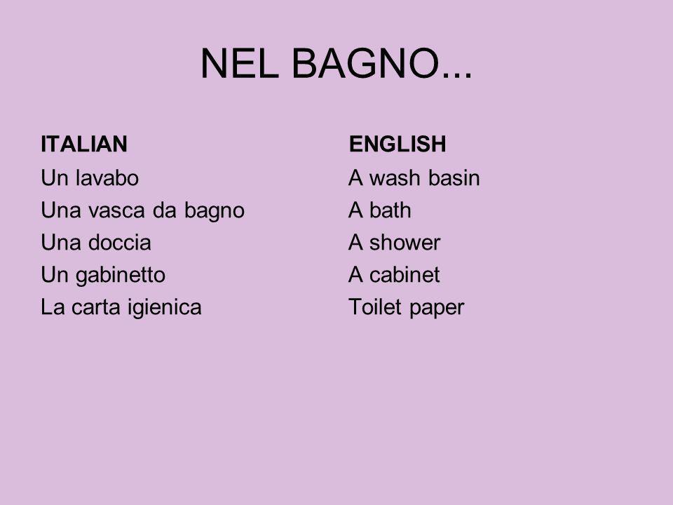 NEL BAGNO... ITALIAN Un lavabo Una vasca da bagno Una doccia Un gabinetto La carta igienica ENGLISH A wash basin A bath A shower A cabinet Toilet pape
