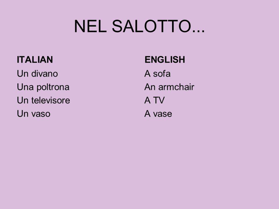 NEL SALOTTO... ITALIAN Un divano Una poltrona Un televisore Un vaso ENGLISH A sofa An armchair A TV A vase