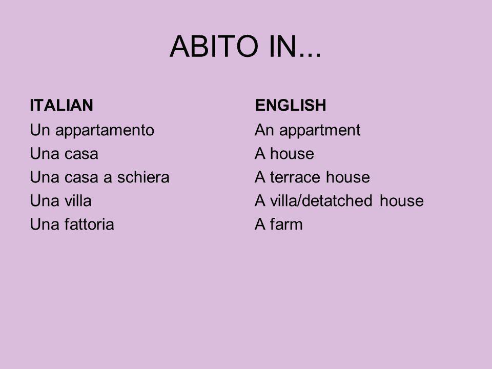 ABITO IN... ITALIAN Un appartamento Una casa Una casa a schiera Una villa Una fattoria ENGLISH An appartment A house A terrace house A villa/detatched
