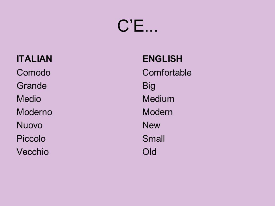 CE... ITALIAN Comodo Grande Medio Moderno Nuovo Piccolo Vecchio ENGLISH Comfortable Big Medium Modern New Small Old