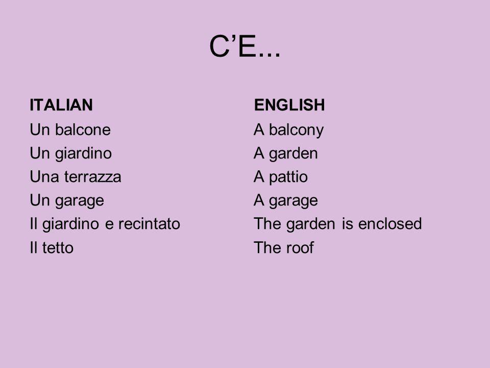 CE... ITALIAN Un balcone Un giardino Una terrazza Un garage Il giardino e recintato Il tetto ENGLISH A balcony A garden A pattio A garage The garden i