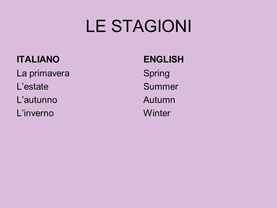 LE STAGIONI ITALIANO La primavera Lestate Lautunno Linverno ENGLISH Spring Summer Autumn Winter