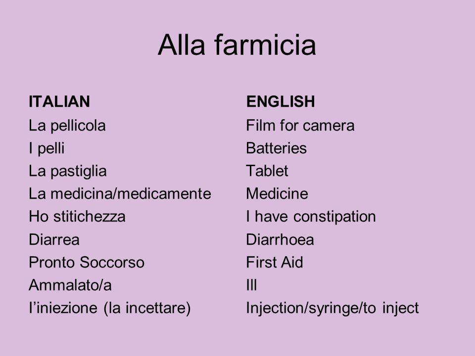 Alla farmicia ITALIAN Inspirare Tossire Far Male Gonfio Slogare (slogarsi) Privo/a di sensi/incosciente Mi gira la testa La indigestione Ho influenza/raffredore ENGLISH Breath in Cough To hurt Swollen Sprain Unconscious Im dizzy Indigestion Flu/cold