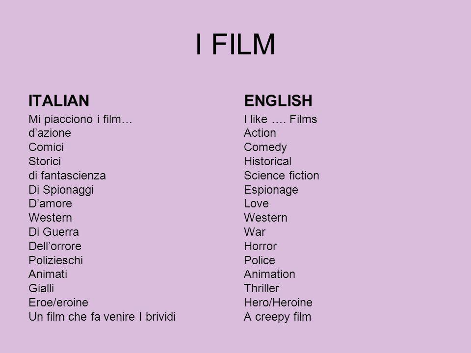 I FILM ITALIAN Mi piacciono i film… dazione Comici Storici di fantascienza Di Spionaggi Damore Western Di Guerra Dellorrore Polizieschi Animati Gialli