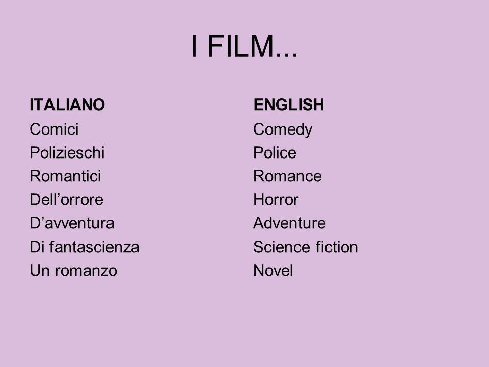 I FILM... ITALIANO Comici Polizieschi Romantici Dellorrore Davventura Di fantascienza Un romanzo ENGLISH Comedy Police Romance Horror Adventure Scienc