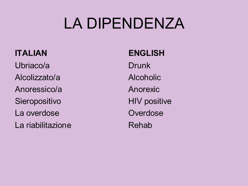 LA DIPENDENZA ITALIANENGLISH Drunk Alcoholic Anorexic HIV positive Overdose Rehab Ubriaco/a Alcolizzato/a Anoressico/a Sieropositivo La overdose La ri