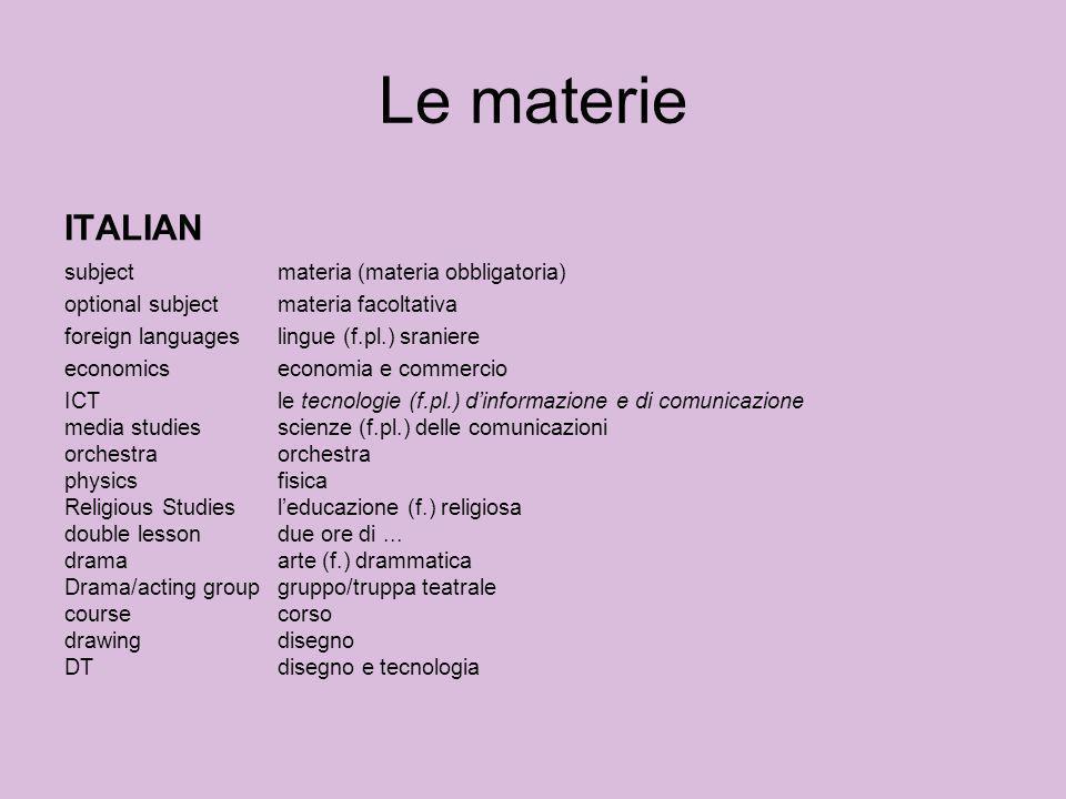 Le materie ITALIAN subjectmateria (materia obbligatoria) optional subjectmateria facoltativa foreign languageslingue (f.pl.) sraniere economicseconomi