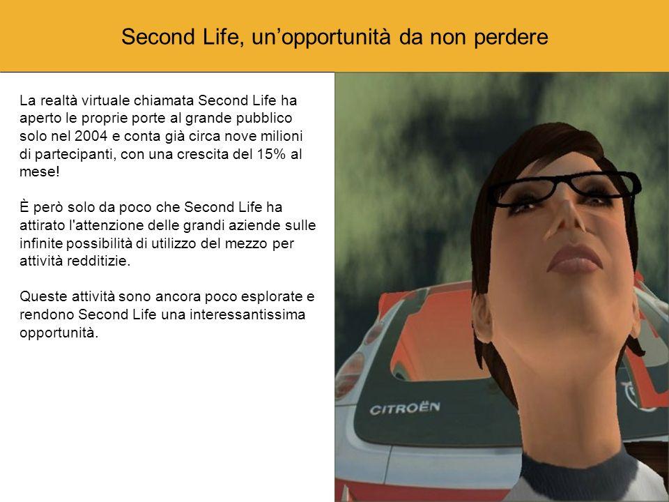 Un ambiente tridimensionale Al contrario dei giochi ambientati in una realtà virtuale Second Life è un mondo virtuale che ha ripercussioni reali sul mondo reale.