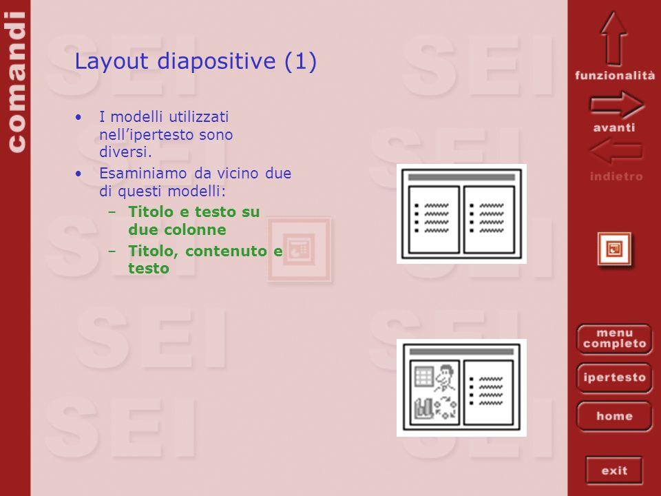 Layout diapositive (1) I modelli utilizzati nellipertesto sono diversi. Esaminiamo da vicino due di questi modelli: –Titolo e testo su due colonne –Ti