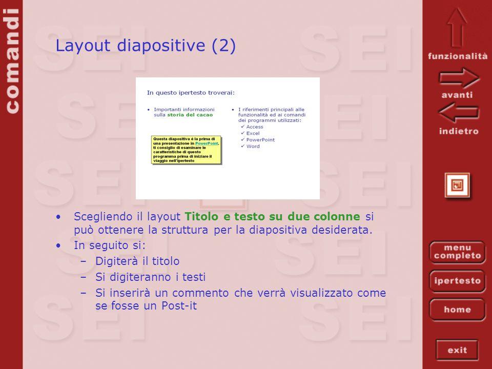 Layout diapositive (2) Scegliendo il layout Titolo e testo su due colonne si può ottenere la struttura per la diapositiva desiderata. In seguito si: –