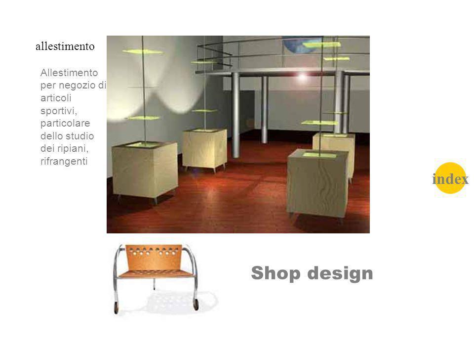 Shop design allestimento Allestimento per negozio di articoli sportivi, particolare dello studio dei ripiani, rifrangenti index