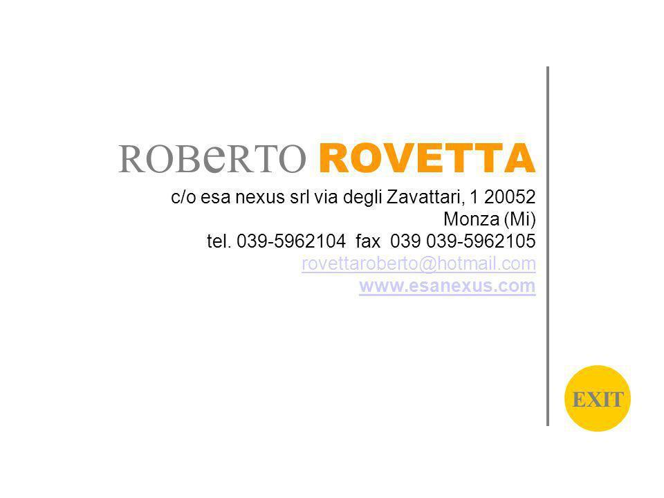 ROB e RTO ROVETTA c/o esa nexus srl via degli Zavattari, 1 20052 Monza (Mi) tel.