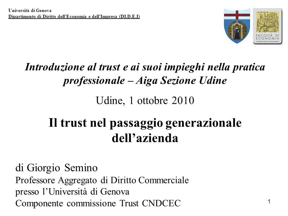 1 Università di Genova Dipartimento di Diritto dellEconomia e dellImpresa (DI.D.E.I) Introduzione al trust e ai suoi impieghi nella pratica profession