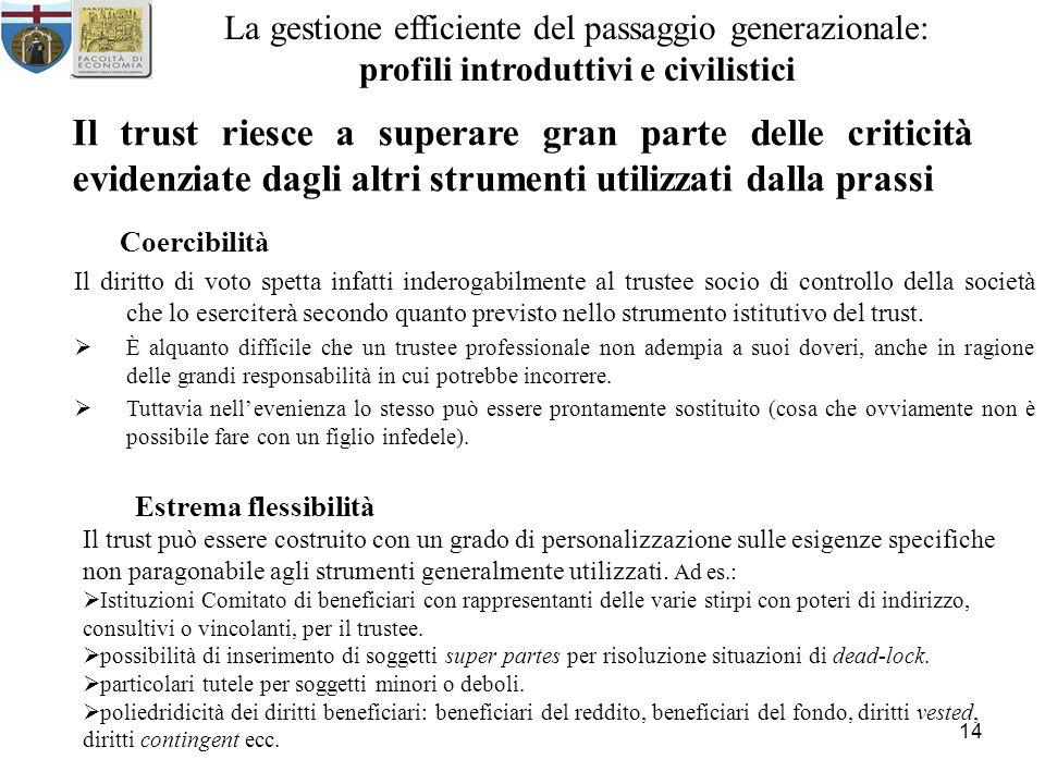 14 La gestione efficiente del passaggio generazionale: profili introduttivi e civilistici Il trust riesce a superare gran parte delle criticità eviden