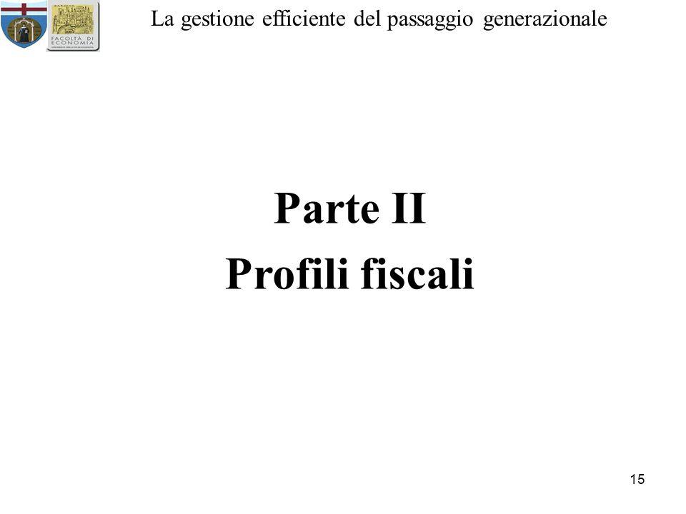 15 La gestione efficiente del passaggio generazionale Parte II Profili fiscali