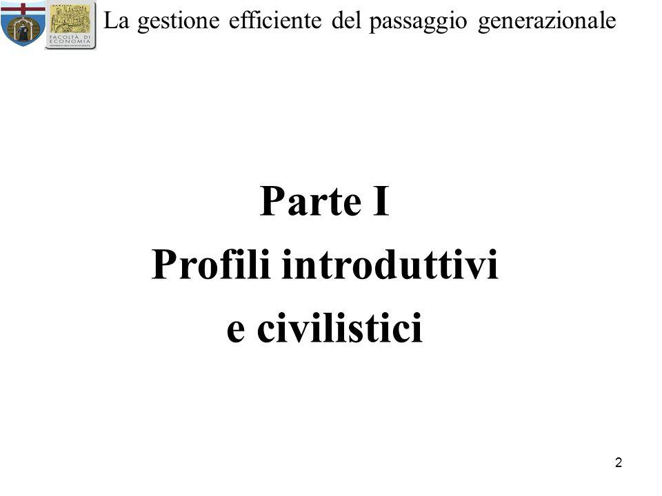 2 La gestione efficiente del passaggio generazionale Parte I Profili introduttivi e civilistici