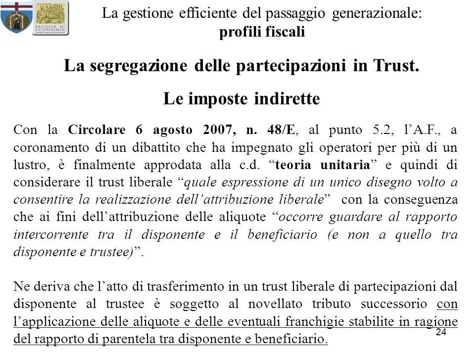 24 La gestione efficiente del passaggio generazionale: profili fiscali La segregazione delle partecipazioni in Trust. Le imposte indirette Con la Circ