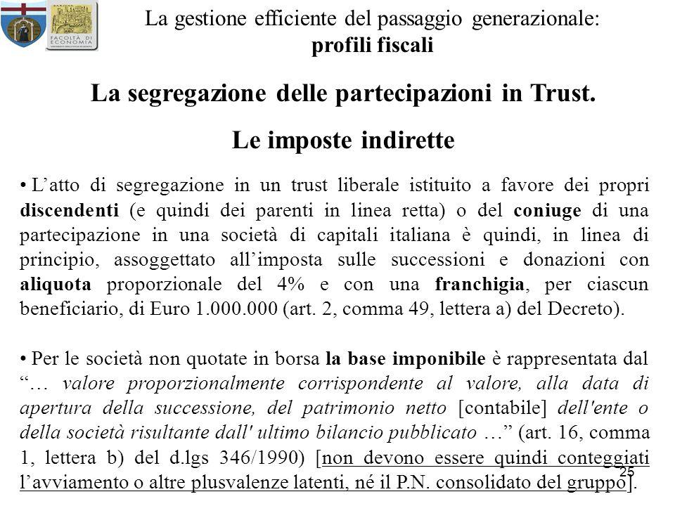 25 La gestione efficiente del passaggio generazionale: profili fiscali La segregazione delle partecipazioni in Trust. Le imposte indirette Latto di se