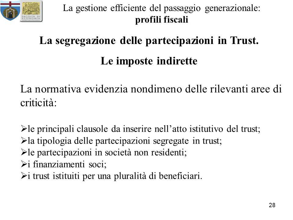 28 La gestione efficiente del passaggio generazionale: profili fiscali La segregazione delle partecipazioni in Trust. Le imposte indirette La normativ