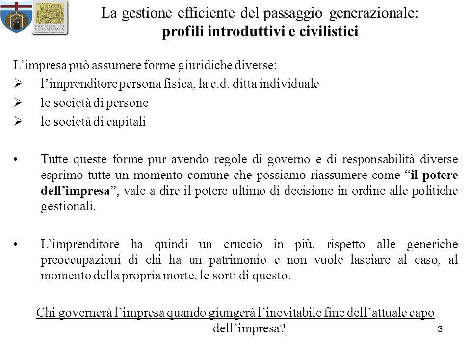 3 La gestione efficiente del passaggio generazionale: profili introduttivi e civilistici Limpresa può assumere forme giuridiche diverse: limprenditore