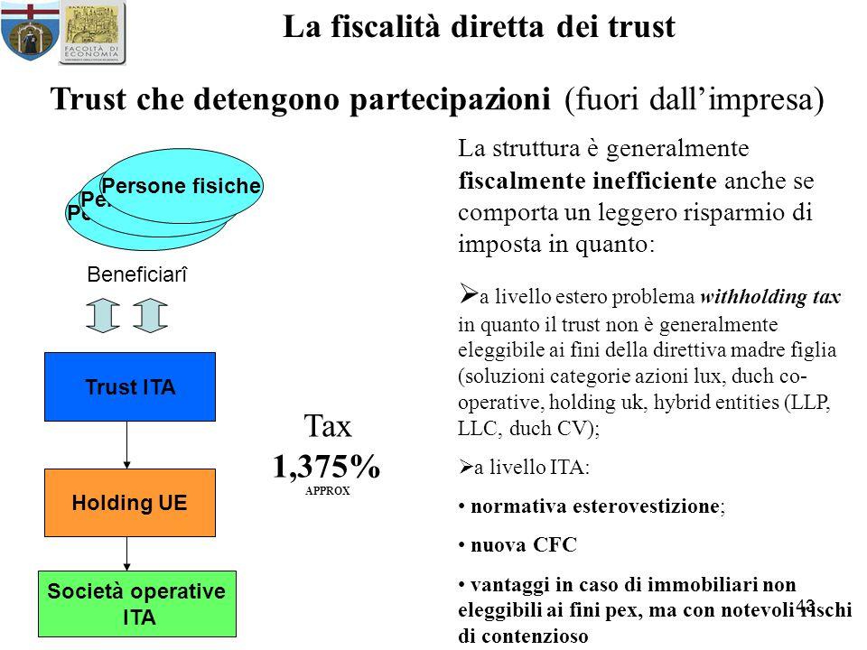 43 La fiscalità diretta dei trust Trust che detengono partecipazioni (fuori dallimpresa) Persone fisiche Beneficiarî Trust ITA Società operative ITA L