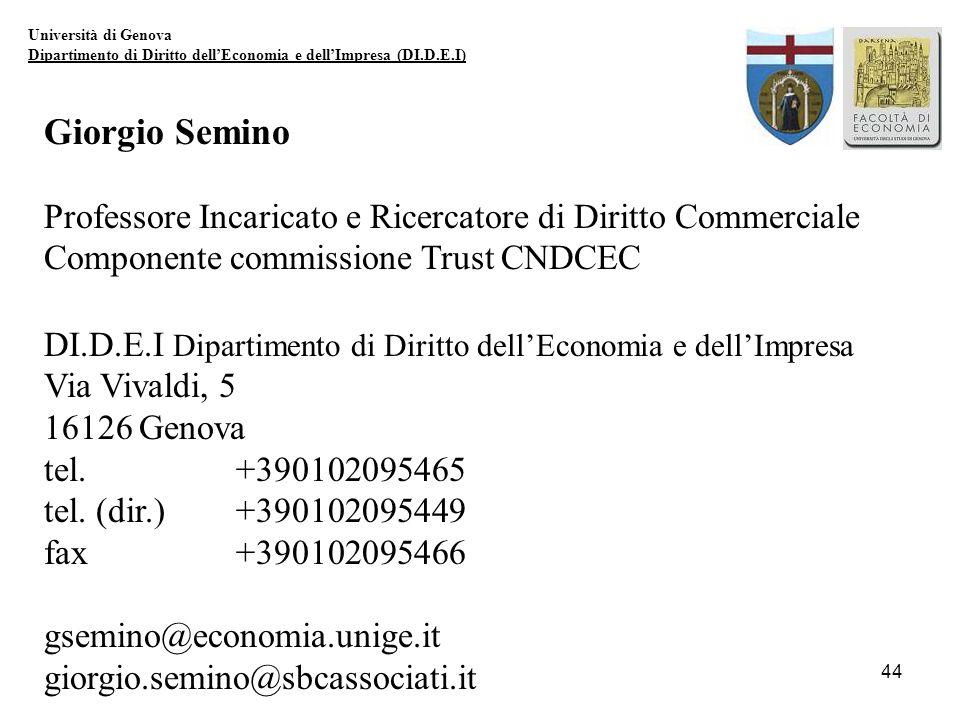 44 Università di Genova Dipartimento di Diritto dellEconomia e dellImpresa (DI.D.E.I) Giorgio Semino Professore Incaricato e Ricercatore di Diritto Co