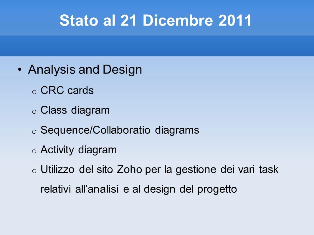 Stato al 21 Dicembre 2011 Analysis and Design o CRC cards o Class diagram o Sequence/Collaboratio diagrams o Activity diagram o Utilizzo del sito Zoho per la gestione dei vari task relativi allanalisi e al design del progetto