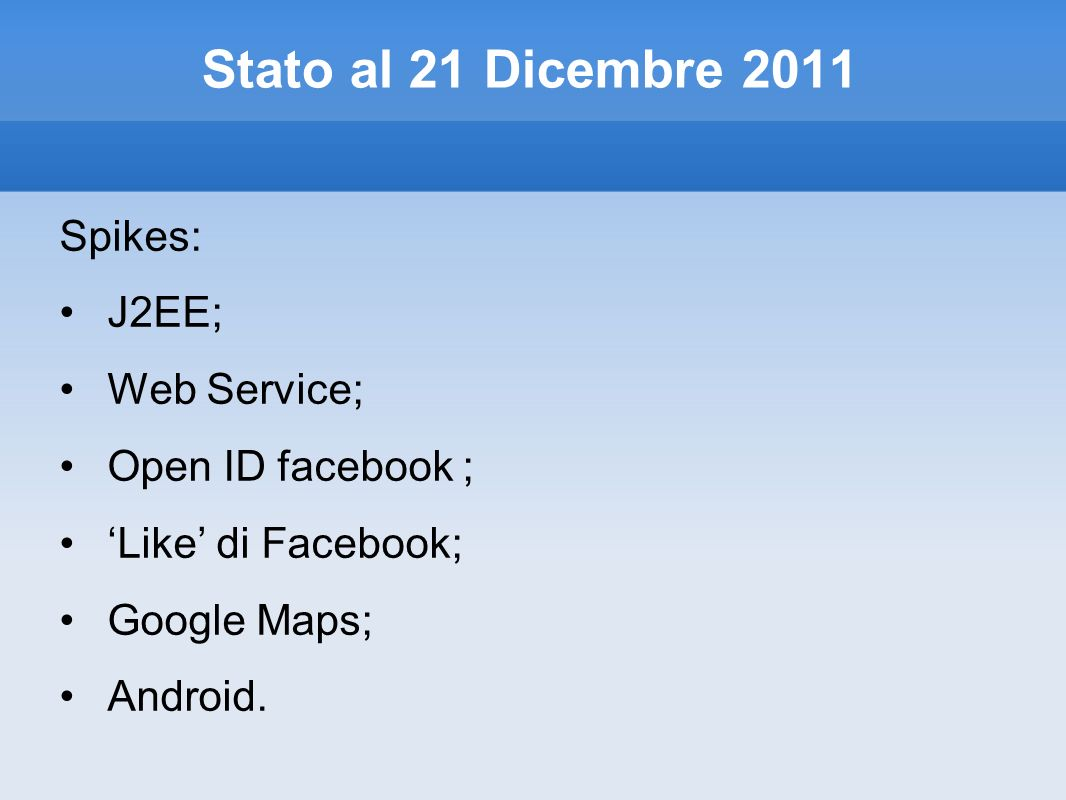 Stato al 21 Dicembre 2011 Spikes: J2EE; Web Service; Open ID facebook ; Like di Facebook; Google Maps; Android.