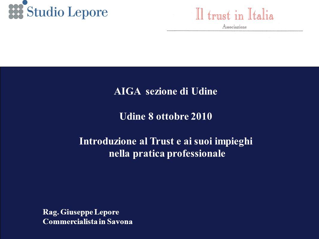 1 AIGA sezione di Udine Udine 8 ottobre 2010 Introduzione al Trust e ai suoi impieghi nella pratica professionale Rag.