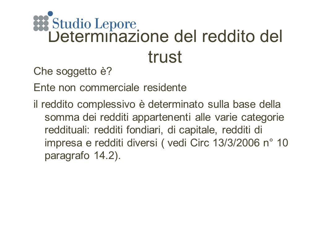 Determinazione del reddito del trust Che soggetto è.