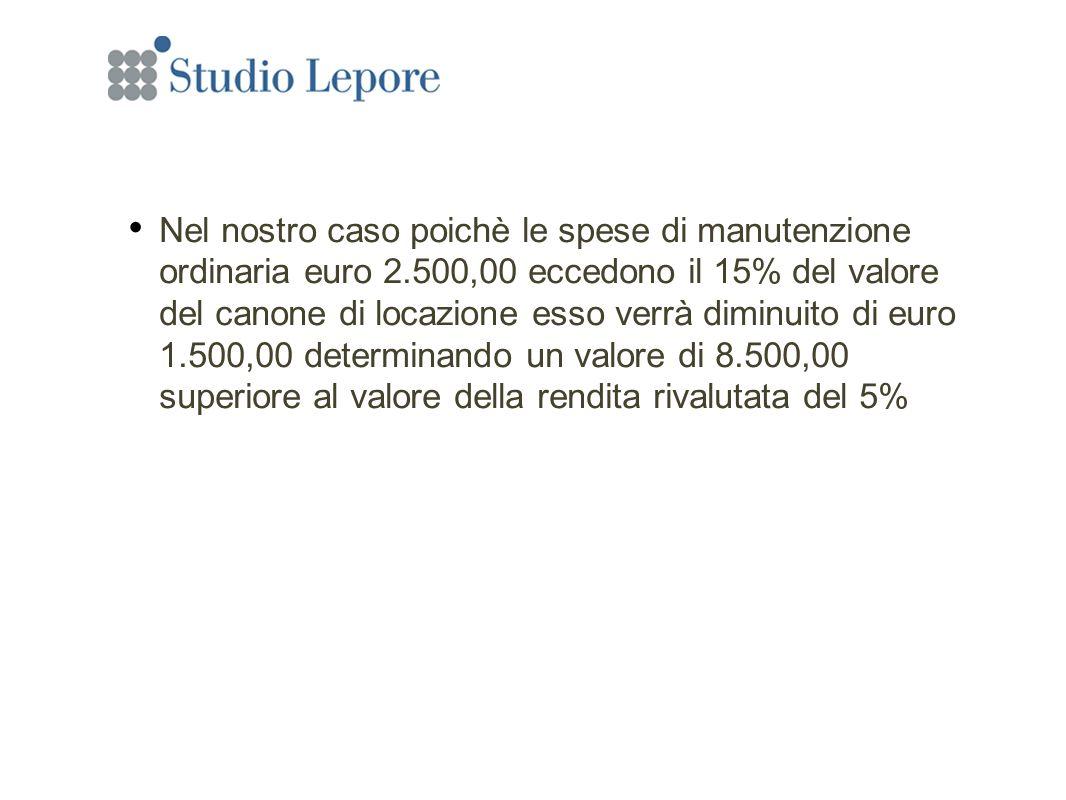 Nel nostro caso poichè le spese di manutenzione ordinaria euro 2.500,00 eccedono il 15% del valore del canone di locazione esso verrà diminuito di euro 1.500,00 determinando un valore di 8.500,00 superiore al valore della rendita rivalutata del 5%