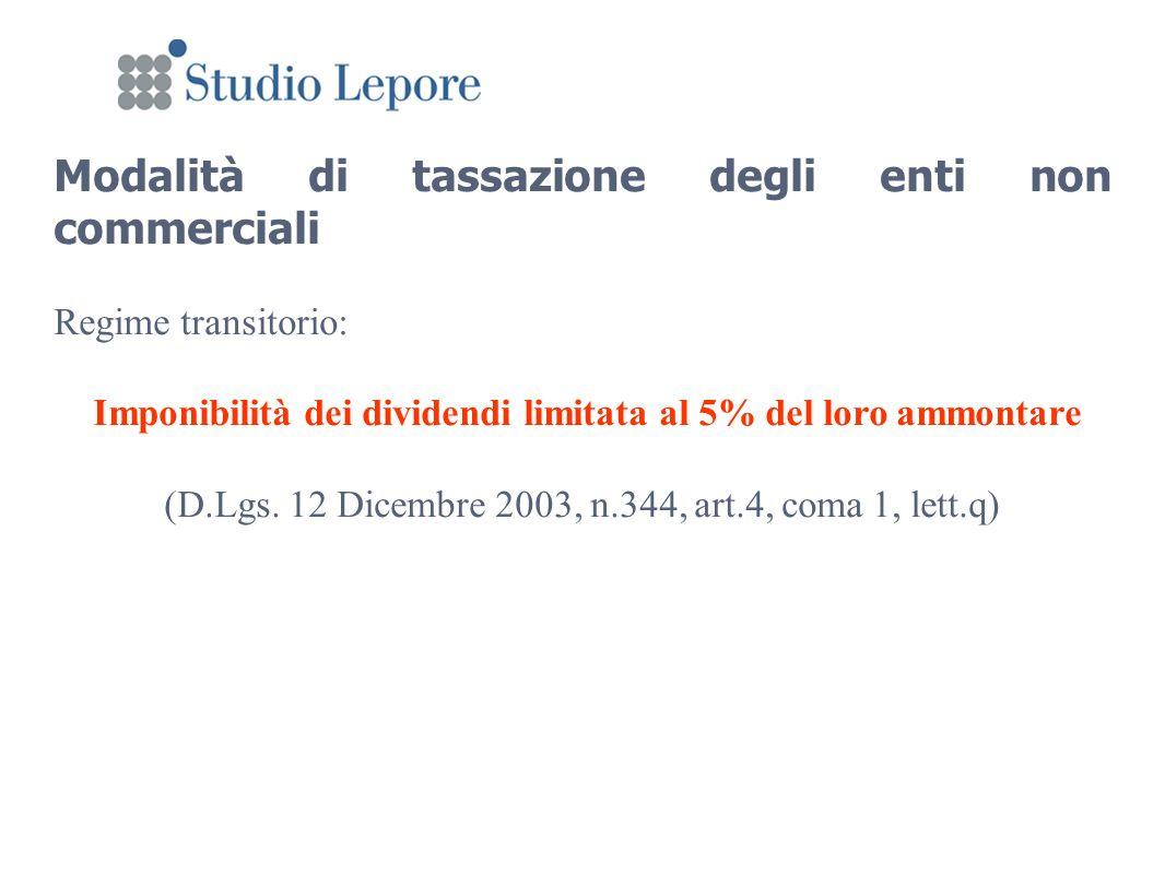 Modalità di tassazione degli enti non commerciali Regime transitorio: Imponibilità dei dividendi limitata al 5% del loro ammontare (D.Lgs.