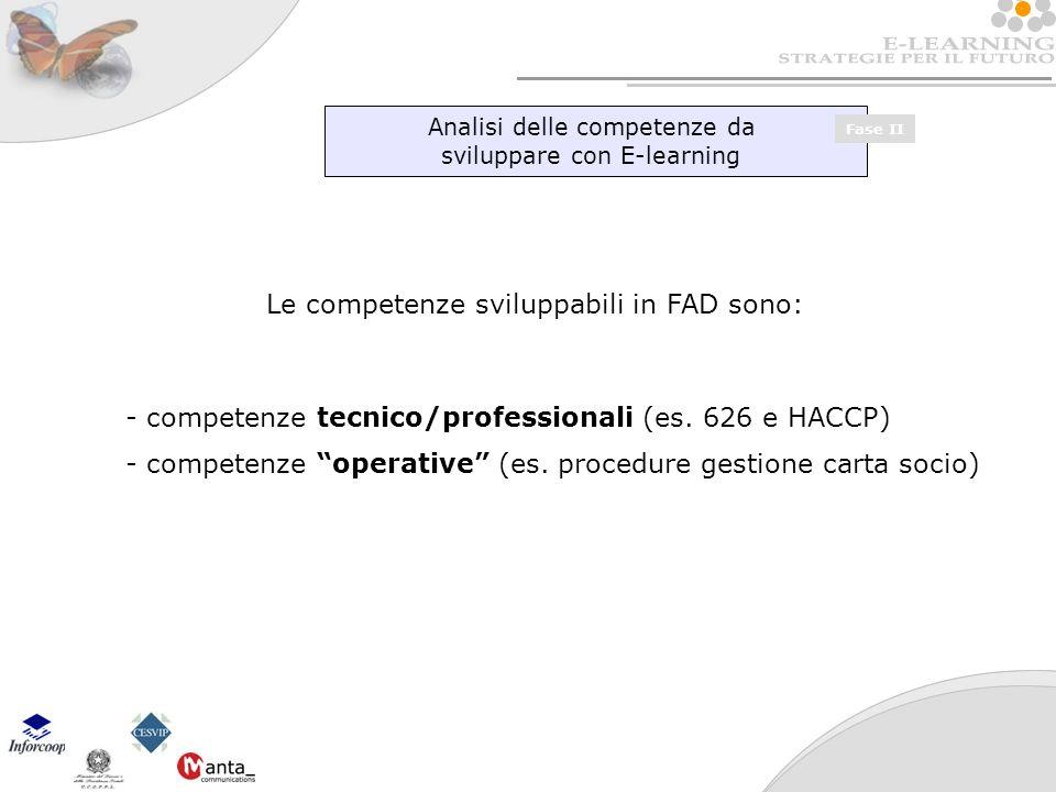Analisi delle competenze da sviluppare con E-learning Fase II Le competenze sviluppabili in FAD sono: - competenze tecnico/professionali (es.