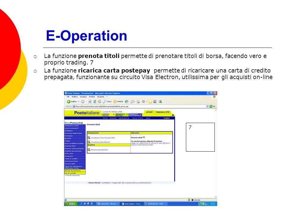 E-Operation La funzione prenota titoli permette di prenotare titoli di borsa, facendo vero e proprio trading.