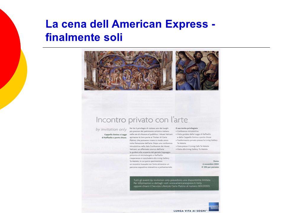 La cena dell American Express - finalmente soli