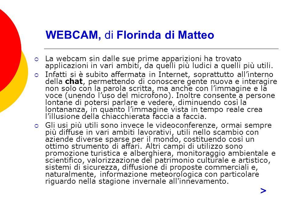 WEBCAM, di Florinda di Matteo La webcam sin dalle sue prime apparizioni ha trovato applicazioni in vari ambiti, da quelli più ludici a quelli più utili.
