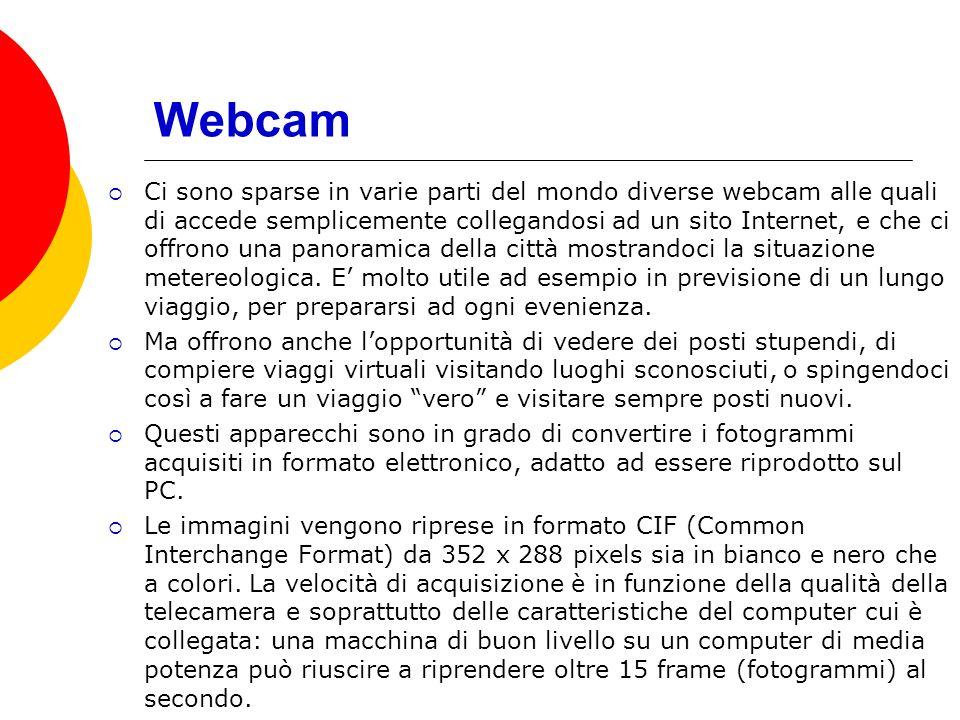 Webcam PER PRENDERE IL CONTROLLO DELLA WEBCAM E SCEGLIERE IL PUNTO DI VISTA
